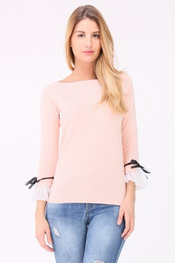 Pull manches froufrou