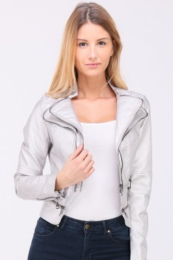 Veste simili cuir brillante