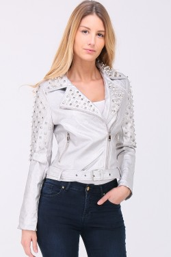 Veste simili cuir brillante perles clous