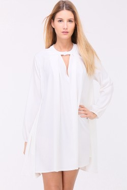 Robe ample manches longues col v