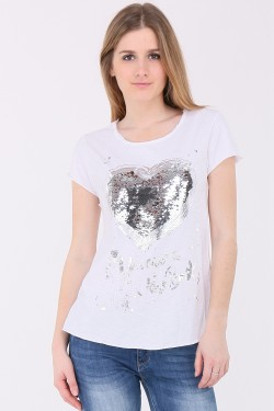 T-shirt paillettes manche court