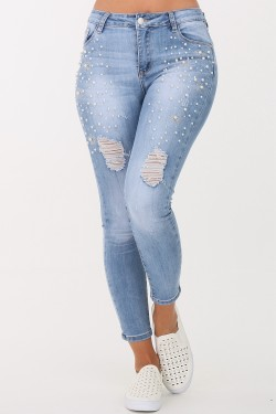 Jeans perles strass