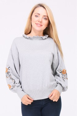 Pull maille fine brodé