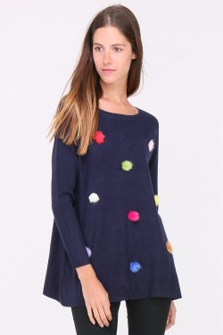 Pull maille fine avec pompom