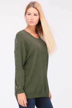 Pull strass manches