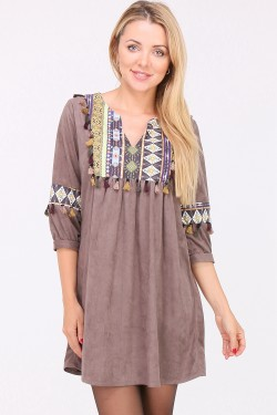 Robe tunique simili daim