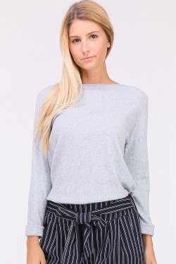 Pull chine col bateau manches longues