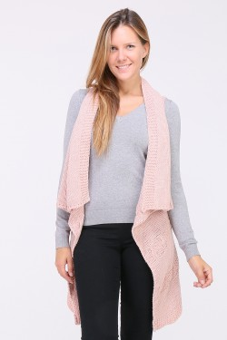 Gilet large long transformable en echarpe