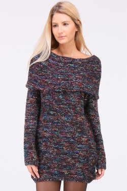 Pull robe paillettes en grosse maille multicolor