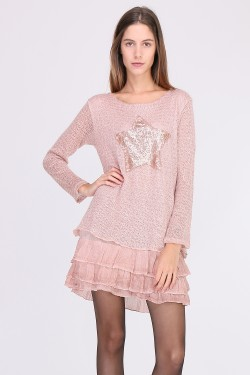 Pull robe paillettes