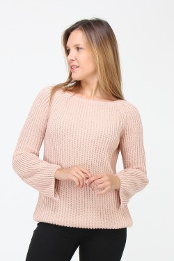 Pull large manche long crochet epais