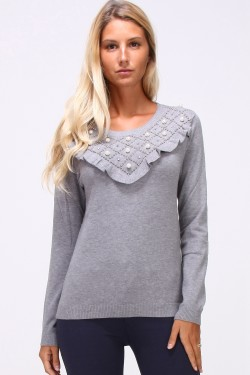 Pull maille fine perles strass