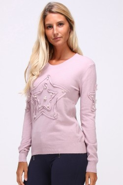 Pull maille fine perles