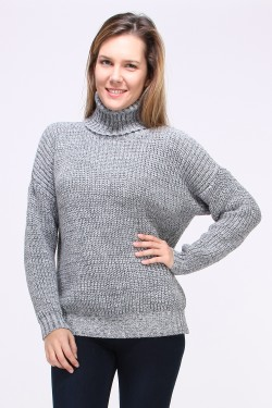 Pull grosse maille col roulé