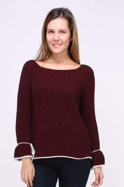 Pull grosse maille nœuds sur manches