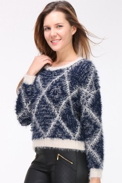 Pull maille avec poils long