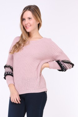Pull long grosse maille brodé sur manches