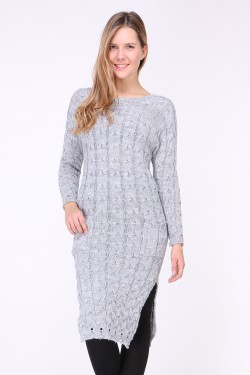 Pull robe longue maille torsadé