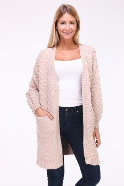 Gilet long grosse maille