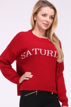 "Pull maille message ""saturday"""