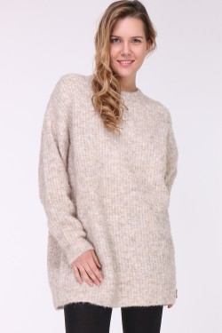 Pull doudou grosse maille col rond