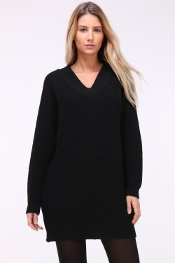 Pull long grosse maille
