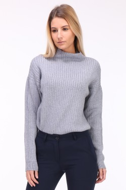 Pull col cheminée fines rayures en lurex