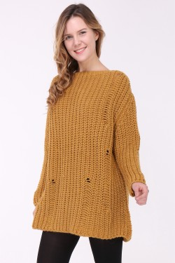 Pull robe grosse maille loose