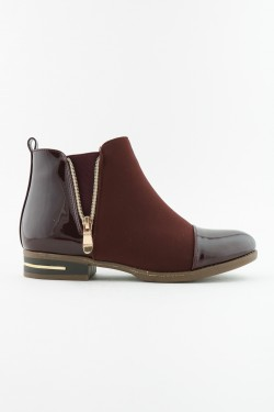 Bi-material zip boots with waxed effect and suede