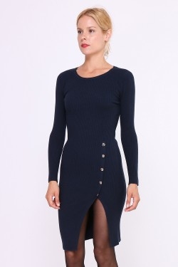Pull robe maille fine avec boutons