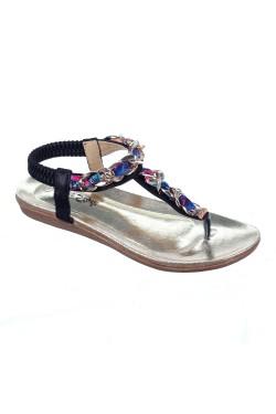 Nu-pied orné de chaînettes enroulées de ruban coloré