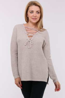 pull col v  et petits nœuds strass devant (maille fine)