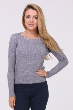 Pull col perles maille fine