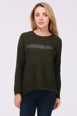 Pull broderies manches