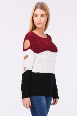 Pull grosse maille manches coupé