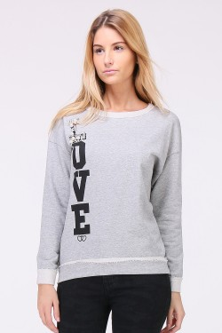 "Sweat ""love"" à perles et strass"