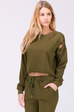 Crop sweatshirt destroy