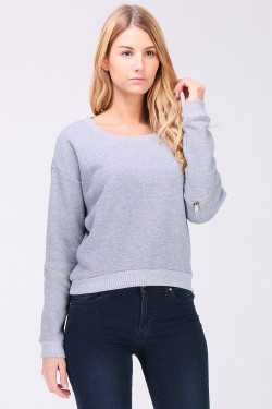 Sweatshirt manches zip