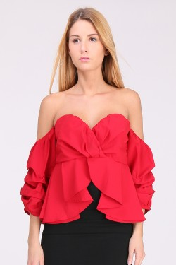 Top bustier manches boules