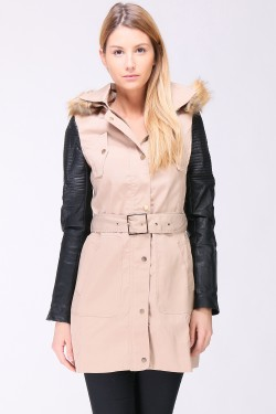 Trench capuche fourrure manches simili cuir