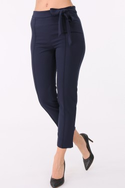 Pantalon coupe slim 7/8, zip coté, a nouer