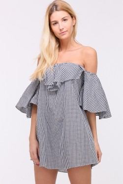 Gingham print cotton tunic with boat neck and flared sleeves