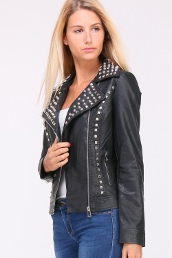 Studded faux leather jacket with embroidered back skull