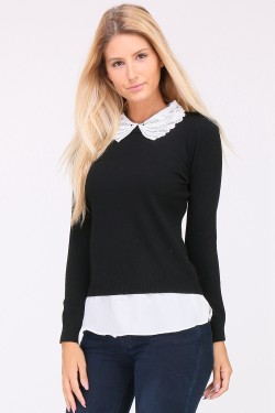 Pull chemise maille fine