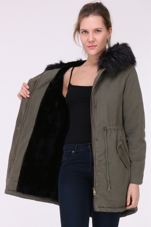 Parka brodée doublé fausse fur with hood with fausse fur amovible