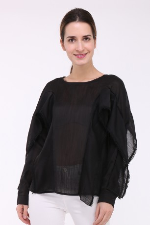 Blouse pleatede with volant