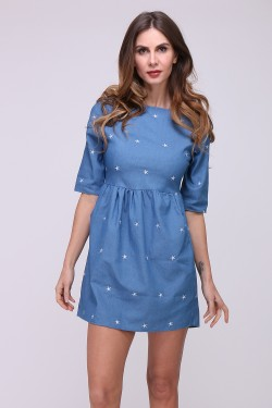 Cotton dress in jeans embroidered with stars