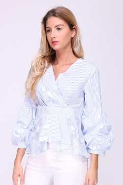 Asymmetric striped print shirt with puff sleeves