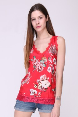Tank top caraco printed with lace