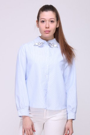 Check shirt with embroidered swan collar